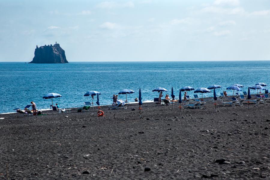 Stromboli black sand beach